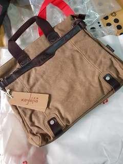 Canvas Laptop Sling Bag w/ Laptop Carrier Pocket