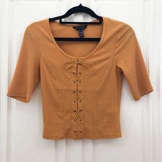 (Size S) Mustard Lace Up Ribbed Shirt