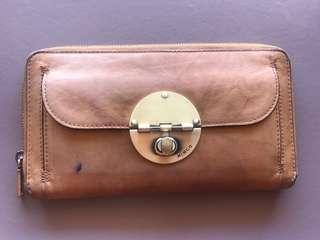 Mimco brown leather turnlock travel wallet