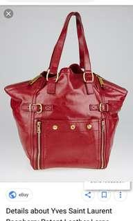 Yves Saint Laurent Raspberry Patent Leather Large Downtown Tote Bag