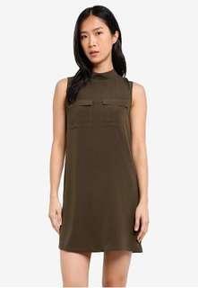 BNWT ZALORA HIGH NECK UTILTY DRESS (ARMY GREEN)
