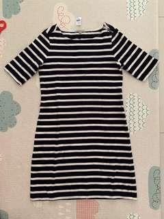 BN GAP navy and white striped dress office wear
