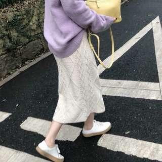 復古百搭麻花設計素色毛衣長裙