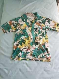 [Instock] Green Tropical Print Button Down