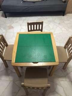 Wooden Lego Table with 4 chairs