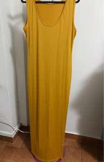 Yellow silk cami dress