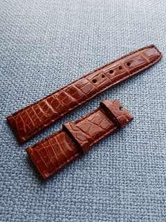 21mm Genuine Mahogany Brown Croc Belly watch strap for Ball, Orient, Frederique Constant, etc.