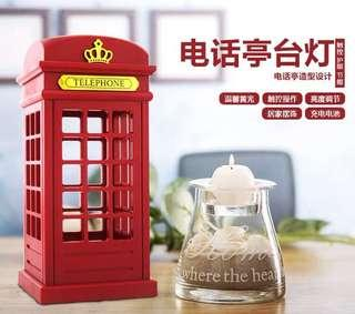 Nostalgic Telephone Booth Touch Panel Power Saving Light Table Lamp