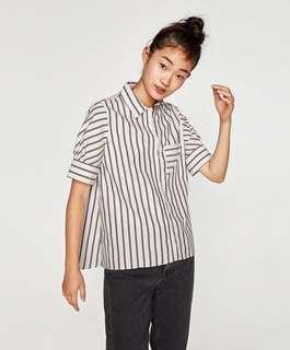 ZARA poplin striped shirt with contrastive stripes.