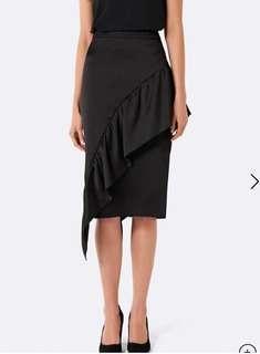 Forever New Olivia Asymmetric Frill Midi Skirt - Size 10