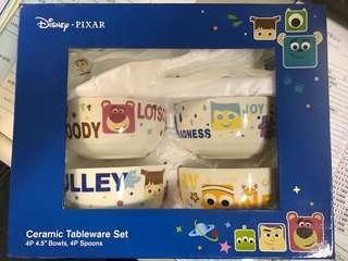 全新正版廸士尼陶瓷碗及匙禮盒裝 New Disney PIXAR Ceramic Tableware Bowls & Spoons Gift Box Sets