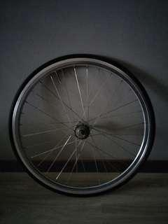 Silver rear wheel