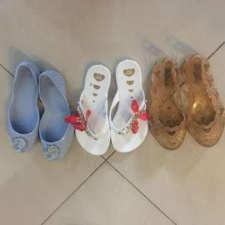 3 pair jelly bunny sandals for girls