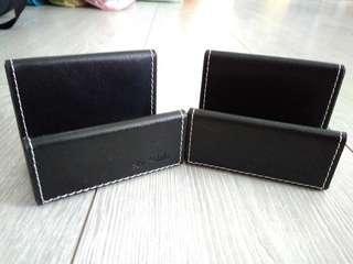 Black leather Name card holder x2