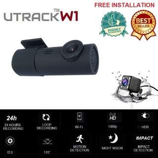 UTRACK W1 WIFI DASHCAM Front and Rear Dual Camera, Superior Night Vision 1080P FHD, Car Video Recorder With G-sensor, Loop Recording, Motion Detection, 24 HOURS RECORDING(LOW POWER CONSUMPTION)