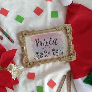 Personalized calligraphy with frame