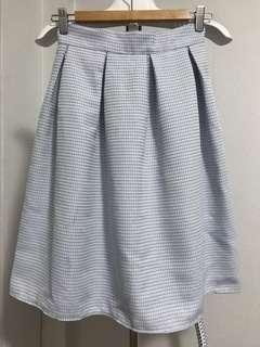 Blue and white checkered midi skirt