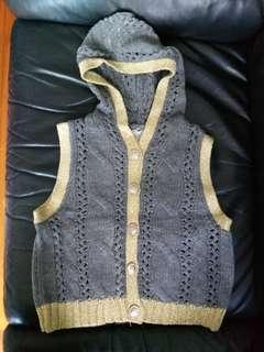 Knitted vest with hood in grey/gold color~ New