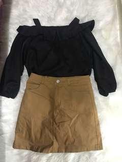 黑色露膊雪紡絲綢上身衫杏色啡色包臀裙A字裙