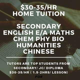 $25-35/hr Tuition | Secondary Home Tutors | English Maths Mathematics Science Higher Chinese Art Chemistry Physics Biology Literature Accounts Account POA | Looking for N O Level Tuition Teacher | Home Tuition Lesson | One to One Tuition | NA NT Express