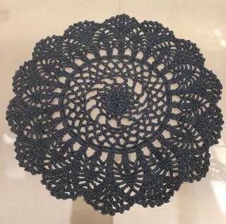 Black hand made coaster