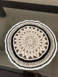 Beige, black & white design hand made coaster