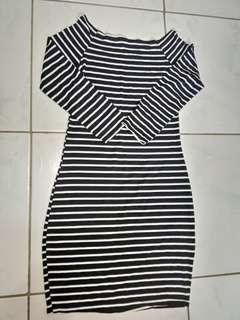 Free size stretchy stripe dress