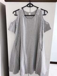 Grey cold shoulder maternity cum nursing dress with matching baby romper