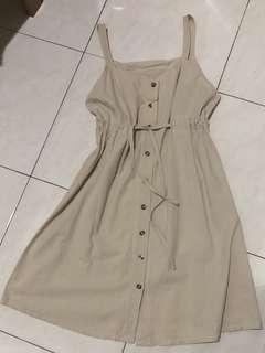 Summer beige button dress