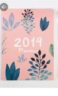 INSTOCK Floral Painted Flower Print 2019 Planner Note Book Notebooks Pink A4