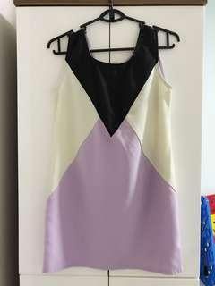 Joop Pastel Purple and Beige Colourblock Shift Dress