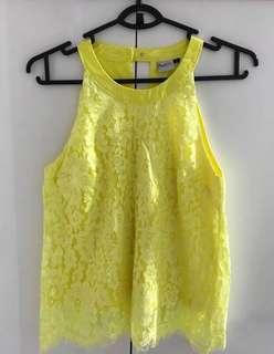 PurPur Yellow Lace Scallop Top