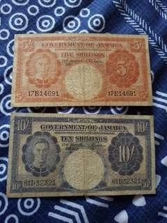 1957 & 1960 KGVI ISSUE GOVERNMENT OF JAMAICA 5 SHILLINGS & 10 SHILLINGS NOTE