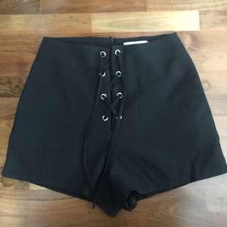 black shoelace shorts