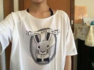 White rabbit winged shirt