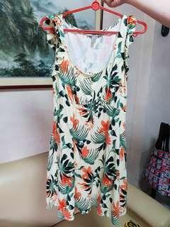ASOS tropical flowers pleated sleeves sun dress sz UK12