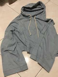 baby blue hoodie with oversized sleeves