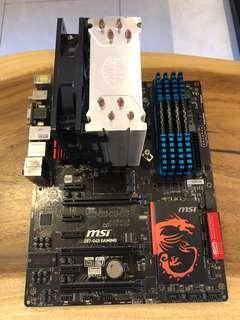 MSI Motherboard c/w 16gb RAM & Cpu fan