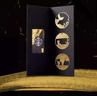 Starbucks China Rewards Card with 3 gold plated book marks