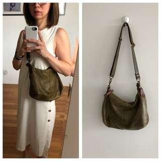 Green brown Genuine Leather Shoulder hobo Sling Bag