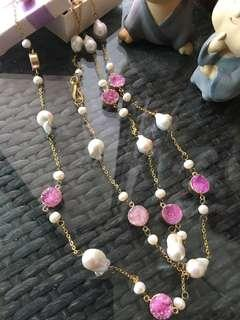 Genuine baroque long pearl necklace