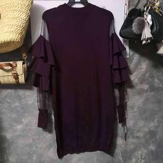 Ruffles Sleeve Maroon Dress