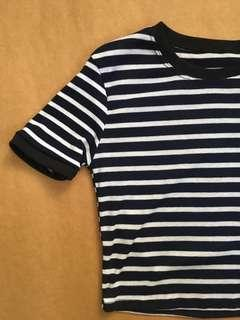 Cropped Striped Ringer Tee