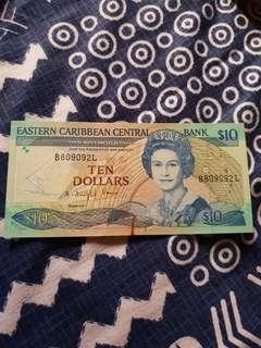 1985-93 ND QEII ISSUE EASTERN CARIBBEAN CENTRAL BANK $10 NOTE