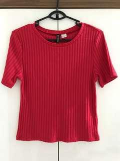 H&M Red Ribbed Cropped Top