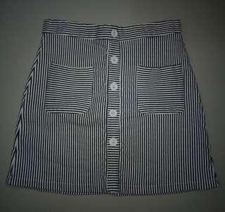 A-Line Skirt Black and White Stripes