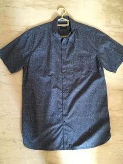 Blue short sleeve shirt male CNY