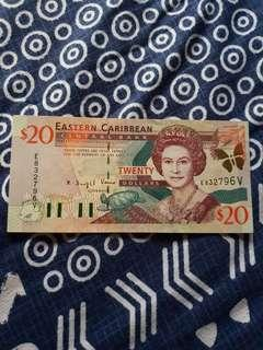 2000 ND QEII ISSUE EASTERN CARIBBEAN CENTRAL BANK $20 NOTE