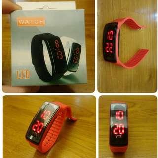 🚚 防水 鏡面LED手環錶 運動手錶 電子錶(紅)