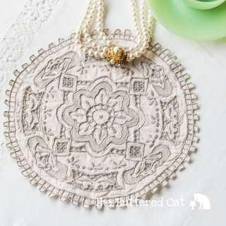 Antique / vintage handmade cut-work embroidered doily with amazing, intricate details and delicate handiwork